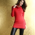 Stilvolle Frauen Cowl Neck Sweater Dress - geknöpft rot (Größe-M)