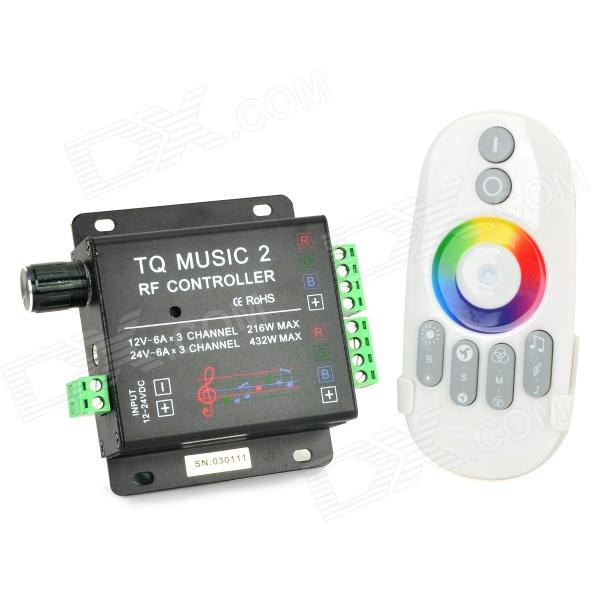 to music 2 3-channel LED Controller / RF Music Controller / RGB Audio Controller - White + BlackOther Accessories<br>BrandN/AModelto music 2MaterialPC + aluminum alloyForm  ColorWhite + Black + Multi-ColoredQuantity1 DX.PCM.Model.AttributeModel.UnitPowerOthers,432W Max.Rate Voltage12~24VWorking Current18 DX.PCM.Model.AttributeModel.UnitDimmableNoEmitter Type3528 SMD LEDTotal Emitters0Color BINOthers,NoBeam Angle0 DX.PCM.Model.AttributeModel.UnitColor Temperature12000K,Others,0 DX.PCM.Model.AttributeModel.UnitTheoretical Lumens0 DX.PCM.Model.AttributeModel.UnitActual Lumens0 DX.PCM.Model.AttributeModel.UnitWavelength0Other FeaturesInput voltage: DC12~24V; Output power: Max 18A; Voice control: 70dB; Battery: 2 x 7#; Remote standby power consumption: 0.08 mW; Remote control power consumption: 6 mw; Working temperature: - 20~60 Celsius degreePacking List1 x Controller (2 x AAA battery,not included)1 x 3.5mm male to male speaker cable (Max length-80cm)1 x 3.5mm audio cable (20cm)1 x English user manual<br>