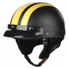 Motorcycle-PU-Leather-Helmet-Black-2b-Yellow-(M)
