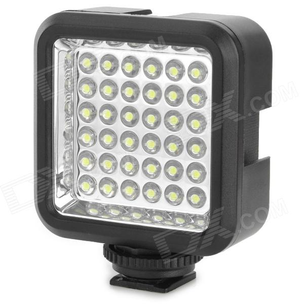 WanSen W36 4W 36-LED Video Camera Light for Canon / Nikon - BlackLighting and Flash<br>Form  ColorBlackBrandWansenModelW36MaterialABSQuantity1 DX.PCM.Model.AttributeModel.UnitCompatible BrandCanon / NikonCompatible ModelUniversalActual Lumens160 DX.PCM.Model.AttributeModel.UnitTheoretical Lumens160 DX.PCM.Model.AttributeModel.UnitIllumination Angle65 degreeColor Temperature5600KLED life30,000  HoursEmitter BINOthers,LEDNumber of EmittersOthers,36Power4 DX.PCM.Model.AttributeModel.UnitBrightness ControlOthers,Switch controlWorking Voltage   3.7 DX.PCM.Model.AttributeModel.UnitPower Supply3.7V / 350mAh lithium batteryOther FeaturesCRI: &gt;= 85%; Suitable for fill light of wedding photography, indoor photography, news photography site, birthday parties and other weak light occasions; Small volume and compact; Low power consumption, longer using time.Compatible BrandN/ACompatible ModelsN/ABattery included or notYesPacking List1 x  Video light1 x  LI-42B lithium battery (3.7V, 740mAh)1 x 2-flat-pin plug battery charger (100~240V)1 x Chinese / English user manual<br>