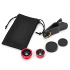 Objectif macro universelle + Grand Angle Fisheye w / clip pour iPhone / Samsung / HTC + Plus - Rouge