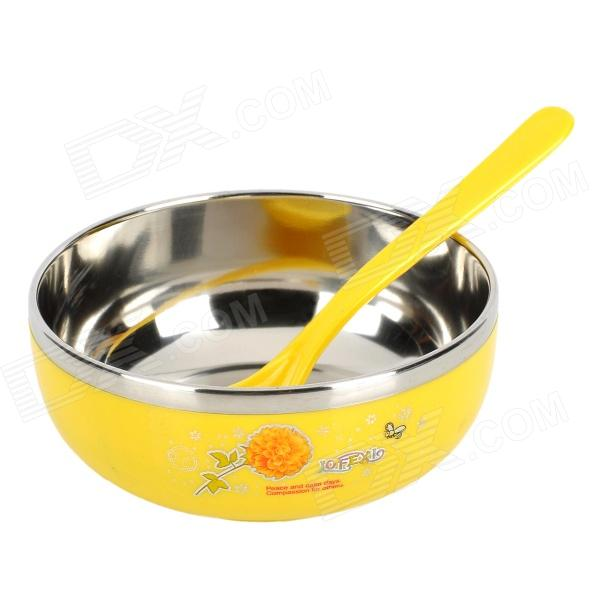 Buy LX8852 Environmental Stainless Steel Liner Heat Insulation Bowl - Yellow + Silver (200mL) with Litecoins with Free Shipping on Gipsybee.com