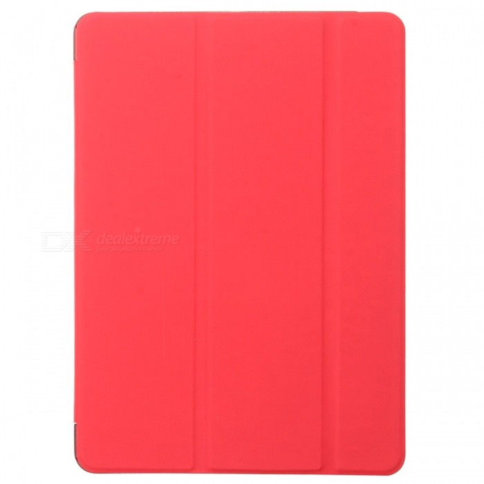Protective PC Back Case + 3-Fold PU Leather Cover Stand w/ Auto Sleep for Ipad AIR - Red