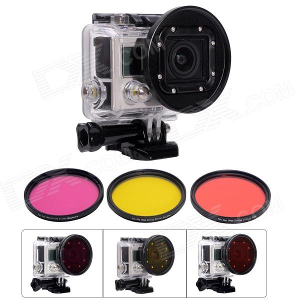 Fat Cat A-DK Professional Dive Housing 58mm Lens Converter+ 3 Colors Filter Dive Kit for Gopro Hero3
