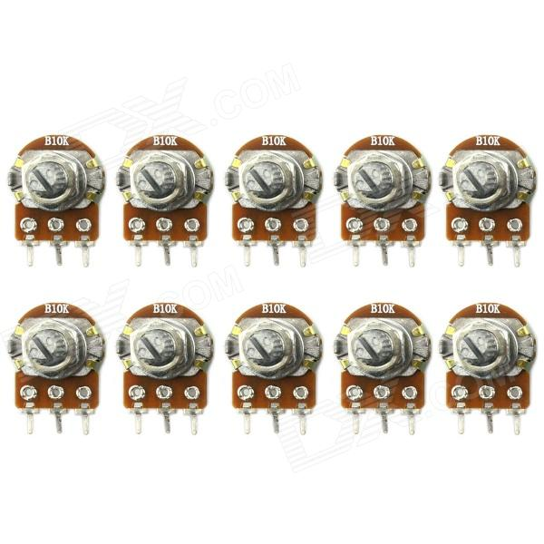 Jtron WH148 Type Single Unit B10K Potentiometer - Silver + Brown (10 PCS)DIY Parts &amp; Components<br>BrandJtronModel03120023Quantity10 DX.PCM.Model.AttributeModel.UnitForm  ColorOthers,Silver + BrownMaterialIronEnglish Manual / SpecNoCertificationNOPacking List10 x Potentiometer<br>