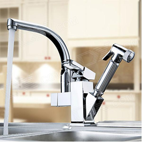 YDL-F-0521-Contemporary-Chrome-Centerset-Two-Spouts-Kitchen-Faucet-Silver