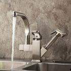 YDL-F-0522 Contemporary Nickel Centerset Two Spouts Kitchen Faucet - Antique Silvery