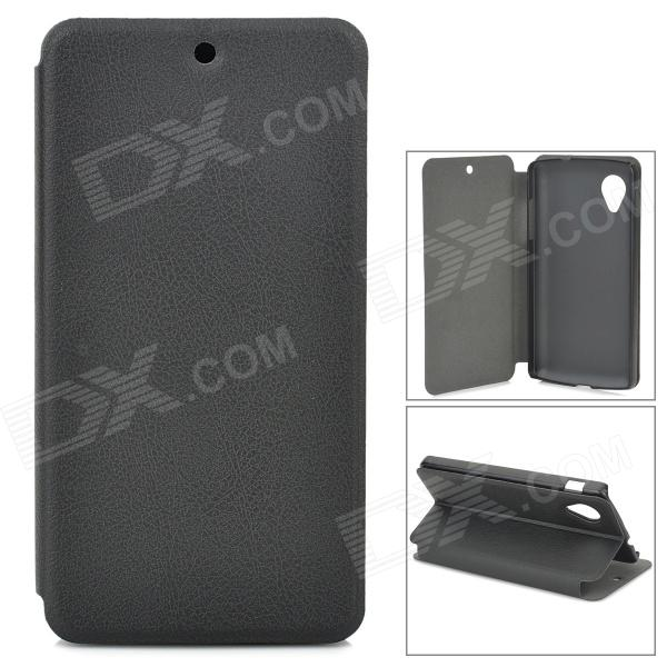 Protective Flip-open PU Leather Case w/ Holder for LG Nexus 5 - Black
