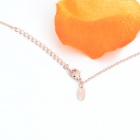 KCCHSTAR 18K Gold Plating Zinc Alloy Lover's Note Necklace w/ Artificial Diamond Pendant - Golden