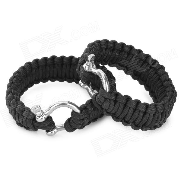 "Adjustable 7~8"" Wrists Paracord Surviving Bracelets w/ Stainless Steel D Shackle - Black (2 PCS)"