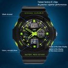 SKMEI 0955 30m Waterproof Analogue Digital Dual Time Men's Sports Watch - Black + Green