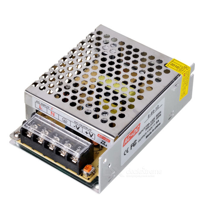 60W 12V 5A AC / DC Power Supply Converter for LED Light - SilverOther Accessories<br>BrandN/AMaterialAluminium alloyForm ColorSilverQuantity1 PiecePowerOthers,60WRate VoltageAC100-220V Output: DC 12VWorking Current5 ADimmablenoConnector TypeOthersEmitter TypeOthersTotal Emitters0Color BINOthersColor Temperature12000K,OthersOther FeaturesAnti-interference, passed electromagnetic compatibility test; 82% efficiency; Over-voltage, short circuit, over-load protection; Constant output stable power with long life; Can provide 2-year guaranteePacking List1 x Power converter<br>