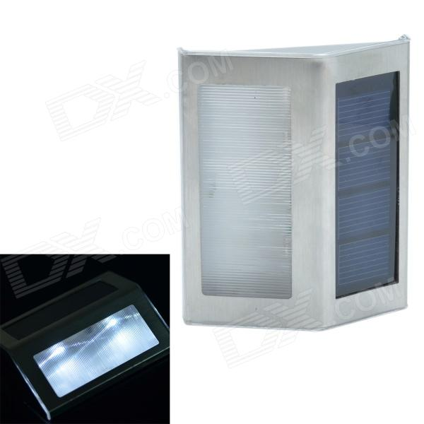 CMI 0.3 LED White Light Solar Powered Stair Lamp w/ Light Control - Silver (1 x AAA)