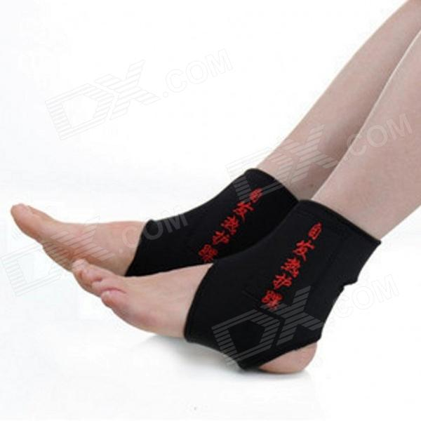Buy Adjustable Self-heating Pain Relief Ankle Support Warmer - Black + Red (Pair) with Litecoins with Free Shipping on Gipsybee.com