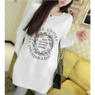 Casual Cotton Women's Round Neck Long Sleeve T-shirt - White + Black (Free Size)