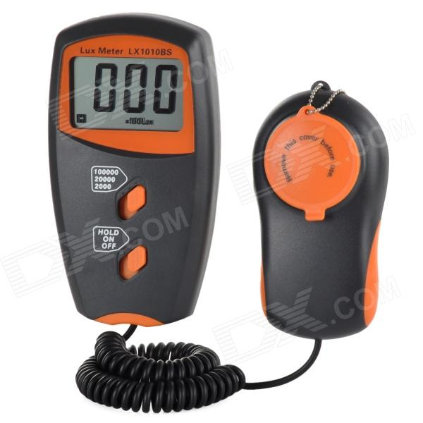 LX1010BS 2.2 LCD Screen Digital LUX Meter - Orange + Deep GreyTesters &amp; Detectors<br>Form  ColorOrange + Deep GreyBrandN/AModelLX1010BSQuantity1 DX.PCM.Model.AttributeModel.UnitMaterialABSDetection Range1~100000 LuxScreen Size2.2 DX.PCM.Model.AttributeModel.UnitBattery Number1Powered ByOthers,9V batteryBattery included or notYesOther FeaturesN/ACertificationCE / RoHSPacking List1 x LUX meter (160cm max. cable)1 x English manual1 x 9V battery1 x Pouch<br>