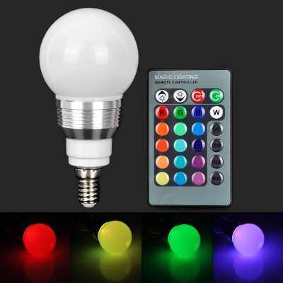 YUIN05 E14 3W 180lm LED RGB Light Bulb w/ Remote Controller (85~265V)