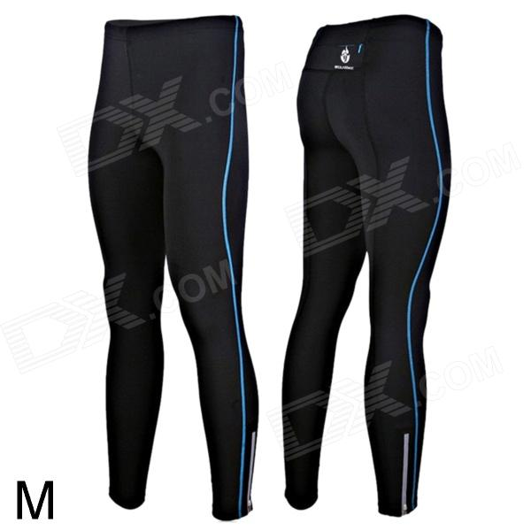 WOLFBIKE BC115-L-00M Mens Sports Elastic Lycra Pants w/ Reflective Zipper - Black + Blue (M)Form  ColorBlack + BlueSizeMBrandOthers,WOLFBIKEModelBC115-L-00MQuantity1 DX.PCM.Model.AttributeModel.UnitMaterialLycraSeasonsFour SeasonsGenderUnisexWaist72~79 DX.PCM.Model.AttributeModel.UnitTotal Length93.5 DX.PCM.Model.AttributeModel.UnitBest UseMultisport,Cross-training,Yoga,Running,Climbing,Rock Climbing,Family &amp; car camping,Backpacking,Camping,Mountaineering,Travel,Cycling,Cross-trainingSuitable forAdultsOther FeaturesWith strap on the waist, so you can adjust the tightness; Unique material, keep you sweat-free; With reflective printed Logo, visiable on the night, ensure safety; With zippered pocket on the back of pants, can carry small thingsPacking List1 x Pants<br>
