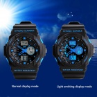 SKMEI 0955 30m Waterproof Analogue Digital Dual-time Men's Sports Watch - Black + Blue