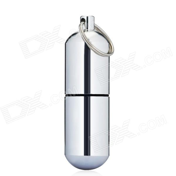 Aluminium Alloy Pill Shaped Keychain - Silver