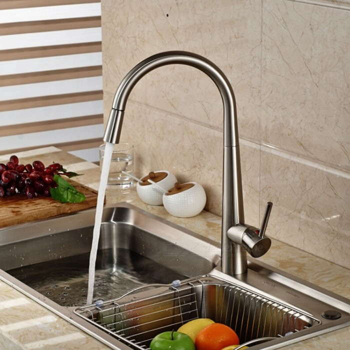YDL-F-0523-Contemporary-Nickel-Finish-Spring-Pull-out-Kitchen-Faucet-Silver
