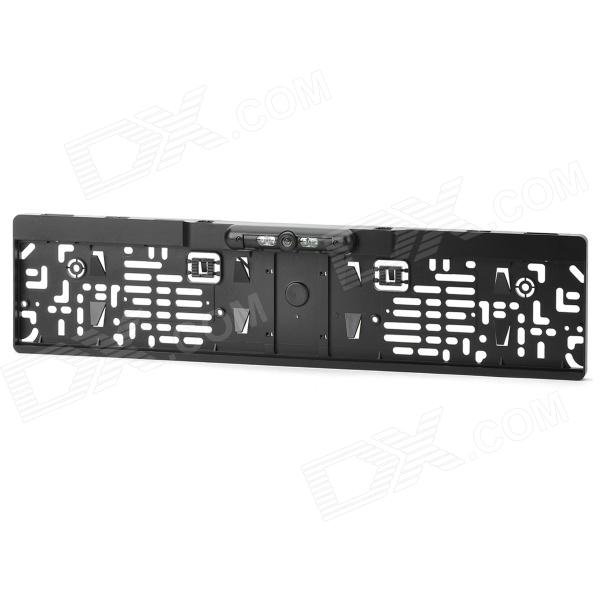 CMOS Rearview Camera License Frame Holder w/ 4-LED Night Vision for European Cars - BlackRearview Mirrors and Cameras<br>Form  ColorBlackBrandN/AModel002Quantity1 DX.PCM.Model.AttributeModel.UnitMaterialPlasticTypeRearview CameraCompatible MakeBMW,VW,Benz,Buick,Audi,Ford,Volvo,ChevroletCompatible Car ModelEuropean brand carsStyleInternalSignal SystemPALBluetooth VersionNoVisible Angle135 degreeCamera TypeWirelessVideo SystemPALImage SensorCMOSViewing Angle135 DX.PCM.Model.AttributeModel.UnitIR Night VisionYesLED Qty4Night Vision Distance0~5 DX.PCM.Model.AttributeModel.UnitResolution420 DX.PCM.Model.AttributeModel.UnitEffective Pixels656 x 492Distance Ruler LineYesMinimum Illumination0.1~0.5 / F=1.2 DX.PCM.Model.AttributeModel.UnitWater-proofIP67Power SupplyDC 12VOther FeaturesWith distance marking line; White balance: Auto; Current: 60mA; Sensor area: 4.08 x 3.102mm; Video output: 1.0Vp-p, 75ohm, RCA interface; Working temperature: -20C~75C; Relative humidity: 95% MaxPacking List1 x Rearview camera (40cm-cable)1 x Video cable (540cm)1 x Power cable (110cm)1 x English user manual<br>