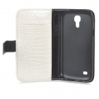 Crocodile Grain Style Protective PU Leather Case for Samsung Galaxy S4 Mini i9190 - White