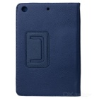 Lichee Pattern Protective PU Leather Case Cover Stand for Retina Ipad MINI - Blue