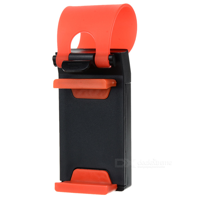 Car Steering Wheel Mobile Scaffold Holder Bracket - Black + RedGPS Holders<br>Form  ColorBlack + RedBrandN/AModelN/AQuantity1 DX.PCM.Model.AttributeModel.UnitMaterialABS + siliconeApplicable ProductsIPHONE 5,IPHONE 4,IPHONE 4S,IPHONE 3G,IPHONE 3GS,Cellphone,GPS,MP3,MP4Adjustable Height0Adjustable Width:6.7cmRotationOthers DX.PCM.Model.AttributeModel.UnitMax. Load4.6 DX.PCM.Model.AttributeModel.UnitPacking List1 x Car steering wheel mobile holder<br>