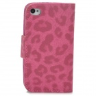 BIW-004 Leopard Style Protective PU Leather Case for Iphone 4 / 4s - Deep Pink