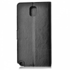 Suojaava PU Leather Flip-Open Case w / jalusta Samsung Note 3 / N9000 - Musta