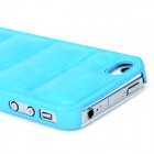 Protective PU Leather + caja de la PC para el iPhone 4 / 4S - Azul Cielo
