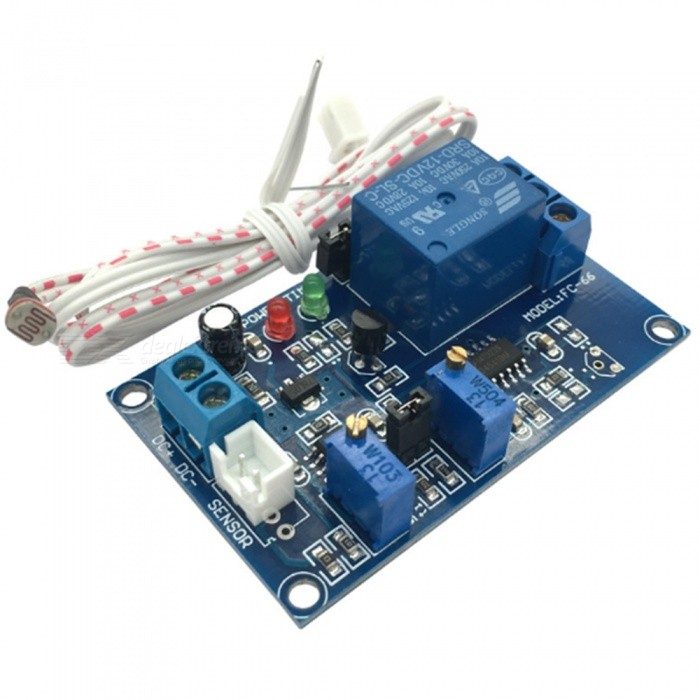 Produnino Photoresistor Sensor Relay Module - Deep Blue (12V)Relays <br>BrandProduinoModelN/AQuantity1 DX.PCM.Model.AttributeModel.UnitForm  ColorOthersMaterialPCBEnglish Manual / SpecYesDownload Link   Electronic filesOther FeaturesPhotoresistor adopt light induction s strength , the syncronisation relay , direct controlled load; Pathopoiesis potentiometer adjust sensitivity , through adjust potentiometer , set starter relay valve value , hereat when the dark valve value when , module relay pickup , hereat bright valve value when , relay break; Working voltage 12V, quiescent current: 12mA, Max power dissipation: 72mA; Output : form direct access to AC 250V10A or DC 30V 10A load; environment temperature: Packing List1 x Module 1 x Resistance wire (50cm)<br>