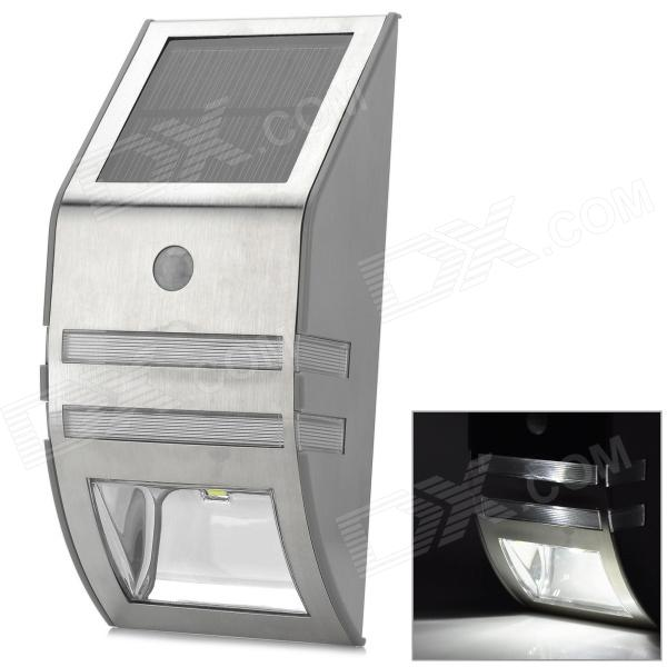 Outdoor Wall Mounted Solar Motion Sensor Led White Lamp Silver