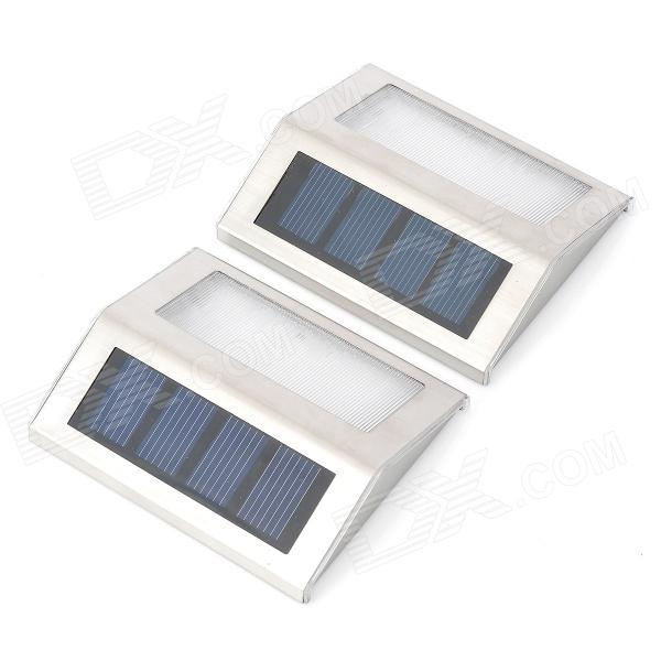 0.2W Stainless Steel 2-LED White Light Solar Stair Lamps - Silver (1.2V)