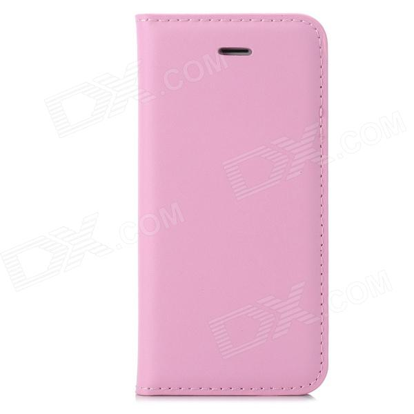 a-33 Stylish Simple Flip-open PU Leather Case w/ Holder + Card Slot for Iphone 5 / 5s - Pink