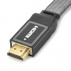 HD Aluminum Alloy HDMI Male to Male Meshed Cable - Black (180cm)