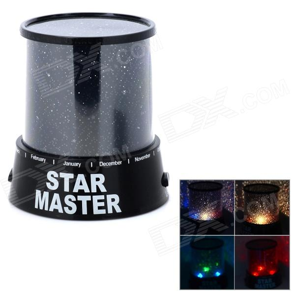 Revolving Star Master 1-LED Projector - Black (3*AA)