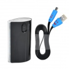 """6800mAh"" Power Battery Charger w/ LED Flashlight / Smiley Face USB Cable for Samsung Note 3 - Black"