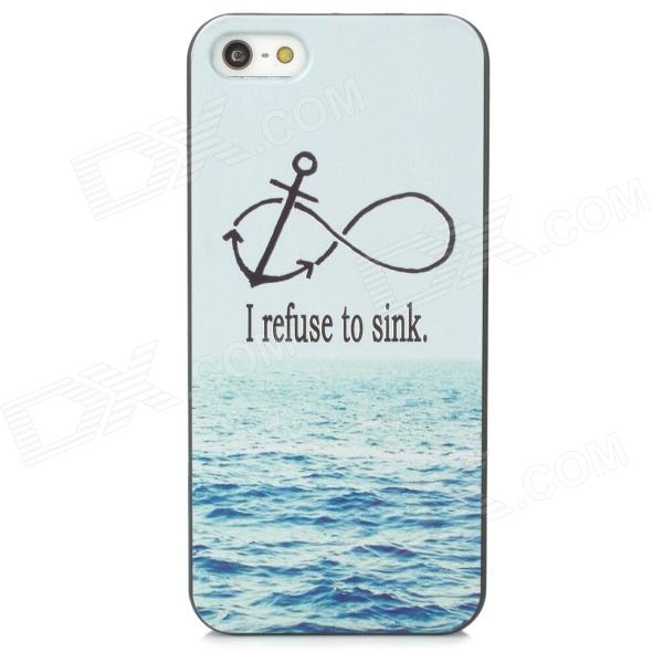 Sea Water Pattern Protective PC Back Case for Iphone 5 /5s - Black + Light Blue