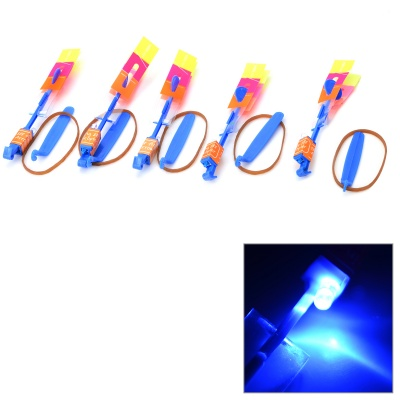 LED Slingshot Toy Night Flyer Arrow Helicopter w/ Rubber Band (5PCS)