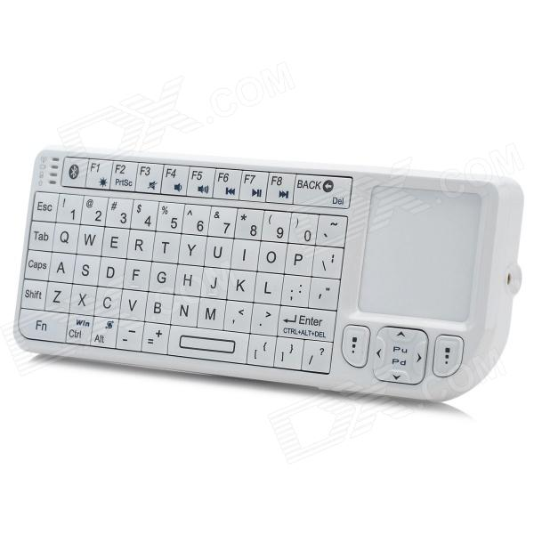 Rii RT-MWK02 Mini Bluetooth v3.0 Keyboard w/ Touchpad / Laser Pointer - WhiteUSB Keyboards<br>Form  ColorWhiteBrandRiiModelRT-MWK02Quantity1 DX.PCM.Model.AttributeModel.UnitMaterialABS plasticTypeGaming,ErgonomicInterfaceUSB 2.0Wireless or WiredBluetoothBluetooth VersionBluetooth V3.0Tracking MethodTouch PadBack-litYesOperation Distance15 DX.PCM.Model.AttributeModel.UnitKey Travel15 DX.PCM.Model.AttributeModel.UnitMulti-media Key72Powered ByBuilt-in BatteryBattery included or notYesBattery Capacity300 DX.PCM.Model.AttributeModel.UnitBattery Number1WaterproofYesSupports SystemWin xp,Win 2000,Win vista,Win7 32,Win7 64,Win8 32,Win8 64,MAC OS X,IOS,Linux,Android 2.x,Android 4.xPacking List1 x Bluetooth keyboard1 x Charging data cable (80cm)1 x English user manual<br>