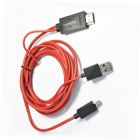 Ourspop Micro MHL to HDMI 1080P MHL Cable for Samsung Galaxy S4 / S3 / Note 2 / Note 3 - Red (200cm)