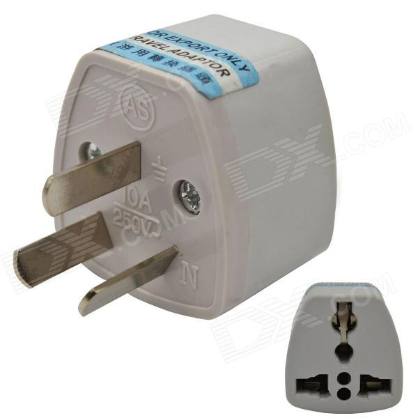 3-pin AU / US / UK / EU till AU Travel Power Plug Adapter - Vit