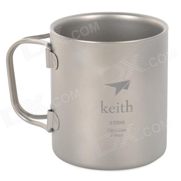 Keith KS813 Double Wall Titanium vody Cup / Mug - Silver Grey (220 ml)