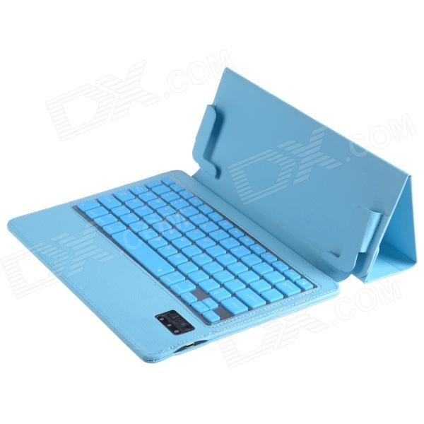 Ultrathin Bluetooth V3.0 79-key Keyboard w/ One Fold Pattern PU Leather Case for Ipad AIR - Sky BlueIpad Keyboards<br>Form  ColorSky BlueQuantity1 DX.PCM.Model.AttributeModel.UnitMaterialPU leather + silicone + aluminum alloyCompatible ModelsIPAD AIRSupports SystemiOSConnectionBluetoothBluetooth VersionBluetooth V3.0Keys79Operating Range10 DX.PCM.Model.AttributeModel.UnitPowered ByBuilt-in BatteryBuilt-in Battery Capacity 180 DX.PCM.Model.AttributeModel.UnitStandby Time160 DX.PCM.Model.AttributeModel.UnitCharging Time4~5 DX.PCM.Model.AttributeModel.UnitWorking Time80 DX.PCM.Model.AttributeModel.UnitPacking List1 x Bluetooth keyboard case1 x USB charging cable (74cm)1 x English user manual<br>