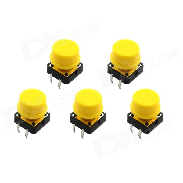 Jtron 12 x 12mm OFF-(ON) 4-pin Touch Switch Button w/ Round Key Caps - Black + Yellow (5 PCS)Switches &amp; Adapters<br>BrandJtronQuantity5 DX.PCM.Model.AttributeModel.UnitForm  ColorOthersMaterialPlastic +ironEnglish Manual / SpecNoPower Range12VMax. Current50mAWorking Temperature-30~85 DX.PCM.Model.AttributeModel.UnitPacking List5 x Switch<br>