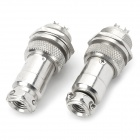 LSON DIY Aluminum Alloy 16mm 4-Pin GX16 Aviation Plug Socket Connector - Silver (2 PCS)