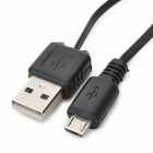 CUS01 USB Male to Micro USB Male Retractable Data Cable - Black (75cm)