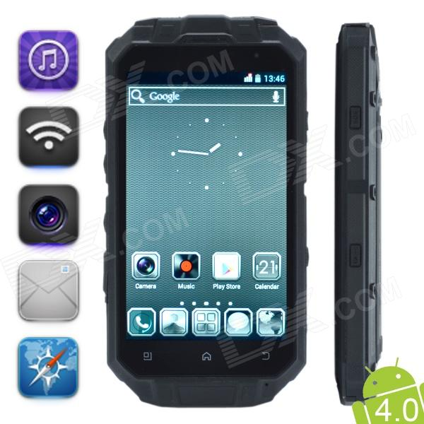 "Conquest Knight XV 4.3"" de pantalla Gorilla Glass de doble núcleo Android 4.0 IP68 GSM Cell Phone w / GPS - Negro"